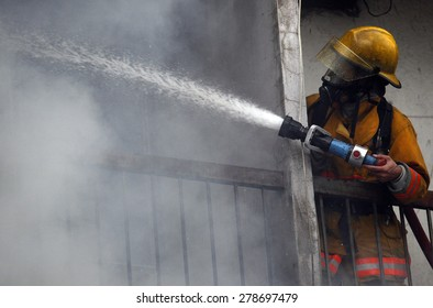 CHIANG MAI, THAILAND MAY 17: Fire in Warehouses - catch fire in warehouses of Sales Religious Supplies Substantial damage on May 17, 2015 in Chiang Mai, Thailand.