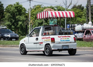 CHIANG MAI, THAILAND - MAY 18 2018: Coconut Icecream shop on Daihatsu Mira Mini Truck. Photo at North Highway road of chiangmai city.