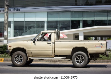 CHIANG MAI, THAILAND - MAY 21 2018: Private old Pickup car, Toyota Hilux Mighty X. On road no.1001, 8 km from Chiangmai city.