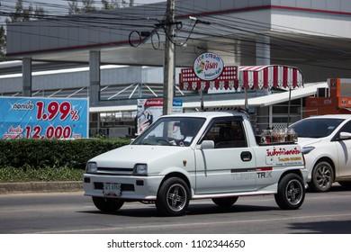 CHIANG MAI, THAILAND - MAY 21 2018: Coconut Icecream shop on Daihatsu Mira Mini Truck. Photo at North Highway road of chiangmai city.