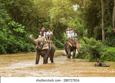 CHIANG MAI, THAILAND - MAY 23, 2015 : Tourists riding on the elephant across river Maewang  on MAY 23, 2015 in Chiang Mai, Thailand.