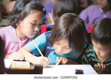 CHIANG MAI, THAILAND - May 28: Hill Tribe students study in elementary school on May 28, 2016 at the Border Patrol Police School. Hill tribe children are having fun in school.
