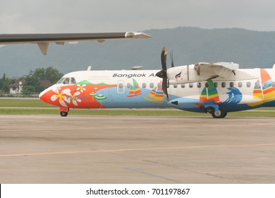 CHIANG MAI , THAILAND - MAY  30 2007:  HS-PGB ATR72-200 of Bangkok Airway. Flight for  Chiangmai airport and Bangkok.