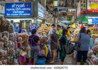 "CHIANG MAI, THAILAND - May 31: 2017 unrecognized people buy goods and souvenir at ""damrong shop"" in waroros market,the largest market in city on May 31, 2017 in Chiang Mai, Thailand."