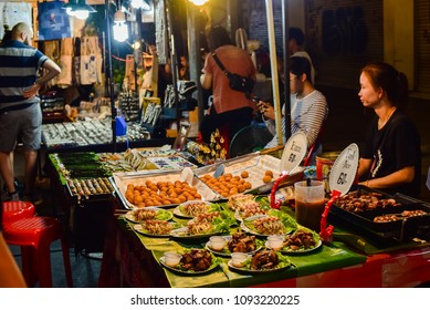 CHIANG MAI,  THAILAND – May 5, 2018 : Saturday market walking street, The city center Thai temple marketing and trading of local tourists come to buy souvenirs  in Chiang Mai, Thailand.