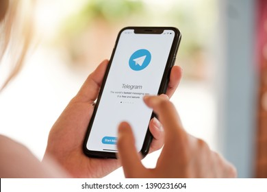 CHIANG MAI, THAILAND MAY 6  2019 : Telegram application icon on Apple iPhone Xs screen close-up. Telegram app icon. Telegram is an online social media network. Social media app