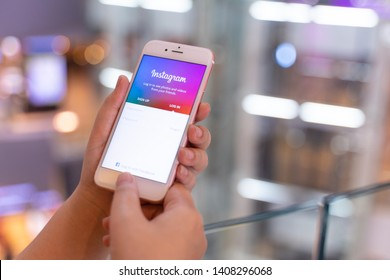 CHIANG MAI, THAILAND - May.10,2019: Woman holding iPhone with Instagram application on the screen. Instagram is a popular online social networking service.