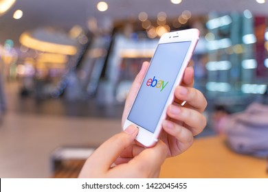 CHIANG MAI, THAILAND - May.10,2019: Woman holding Apple iPhone 6S Rose Gold with eBay apps on the screen. eBay is one of the most popular ways to buy and sell goods and services on the internet.
