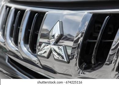 CHIANG MAI THAILAND: Monday, 10 July 2017 :Mitsubishi Logo from Mitsubishi car. Mitsubishi Motor assembled in Japan