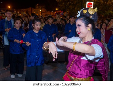 CHIANG MAI , THAILAND - NOV 04 : Participants in a parade during Yee Peng festival in Chiang Mai , Thailand on November 04 2017
