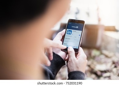 CHIANG MAI, THAILAND - NOV 10,2017: Apple iPhone with LinkedIn application on the screen. LinkedIn is a business-oriented social networking service.