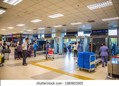 CHIANG MAI, THAILAND - Nov 11, 2018: Airport security check at gates with metal detector and scanner at Chiang Mai International Airport