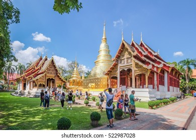 CHIANG MAI , THAILAND  - NOV 18 : Wat Phra Singh Woramahaviharn temple  is located in the old city centre of Chiang Mai, Thailand on Nov 18 2016. This temple is the tourist attraction in Chiang Mai.