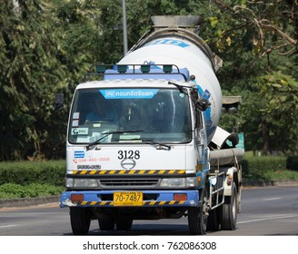 CHIANG MAI, THAILAND -NOVEMBER  14 2017: Concrete truck of CPAC Concrete product company. Photo at road no.121 about 8 km from downtown Chiangmai, thailand.