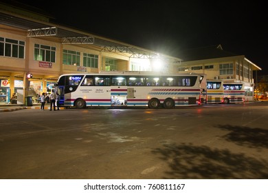 CHIANG MAI, THAILAND -NOVEMBER 15 2017:  Bus of Sombattour company. Chessy bus import from Europe and Build body bus in thailand. Photo at Chiangmai bus station, thailand.