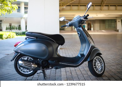 CHIANG MAI, THAILAND - November 18, 2018 :  Vespa Sprint motorcycle parked in city of Chiang Mai, Thailand