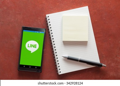 CHIANG MAI, THAILAND - NOVEMBER 23,2015: Android smart iphone showing Line app on display, Line Messenger is a free instant communication application for mobile devices from NAVER