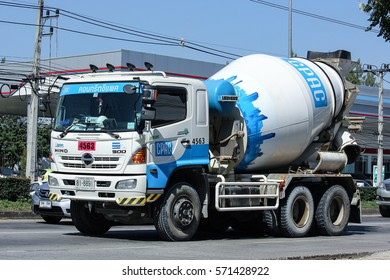 CHIANG MAI, THAILAND - NOVEMBER  26  2016: Concrete truck of CPAC Concrete product company. Photo at road no.121 about 8 km from downtown Chiangmai, thailand.