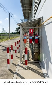 Chiang Mai, Thailand. November, 26-2016: Fire extinguishers were setup near chemical tanks as a reason of emergency case at a factory in rural area.