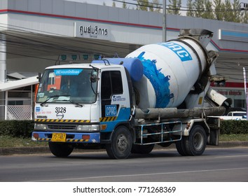 CHIANG MAI, THAILAND -NOVEMBER 28 2017: Concrete truck of CPAC Concrete product company. Photo at road no.121 about 8 km from downtown Chiangmai, thailand.