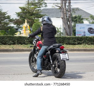 CHIANG MAI, THAILAND -NOVEMBER 28 2017: Private Man with Triumph Bigbike Motorcycle. Photo at road no.121 about 8 km from downtown Chiangmai, thailand.