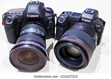 CHIANG MAI, THAILAND - OCT 20, 2018: The First Mirrorless Camera Canon EOS R And Canon 5D Mark IV. Canon is the world largest SLR camera manufacturer.