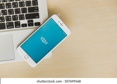 CHIANG MAI, THAILAND - Oct 21, 2016: top view of screen shot of Skype showing on iPhone 6s plus. Skype is an application that providing text chat, video chat and voice calls.