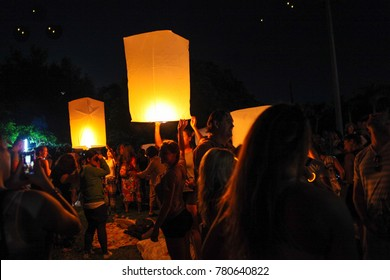 Chiang Mai, Thailand - Oct 25, 2017: tourist and local people are launching sky lanterns during Yi Peng and Loy Krathong festival
