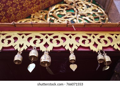 Chiang Mai, Thailand - Oct 28, 2017: Bells are hung in Wat Phra Doi Suthep for good luck.