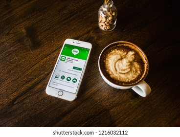 CHIANG MAI, THAILAND - OCT 30,2018: Woman holding iphone 6s with LINE apps on screen. LINE is a new communication app which allows you to make free voice calls and send free messages.