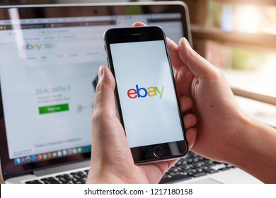 CHIANG MAI, THAILAND - Oct 31, 2018: Close up of ebay app on a Apple iPhone 6S screen. ebay is one of the largest online auction and shopping websites.