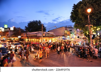 CHIANG MAI THAILAND - OCTOBER 12,2014 : Sunday market walking street, Unidentified tourists walk shopping for souvenirs local craft a beauty & buying local food is delicious market held every sunday.