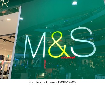 Chiang Mai, Thailand, October 20, 2018: Mark and Spencer Logo on the Side of the Store