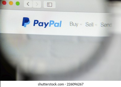 CHIANG MAI, THAILAND - OCTOBER 22, 2014: Paypal close up on laptop screen. PayPal is an American international e-commerce business allowing payments and money transfers.