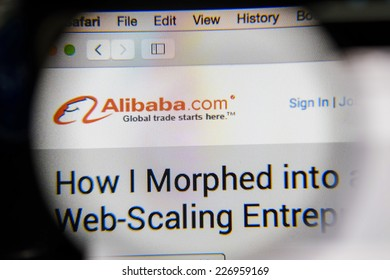 CHIANG MAI, THAILAND - OCTOBER 22, 2014: Alibaba website close up on laptop screen. Alibaba  is a Chinese e-commerce company.