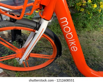 Chiang Mai, Thailand, October 25, 2018: Mobike Rental Bikes in a Row