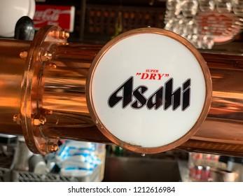 Chiang Mai, Thailand, October 25, 2018: Asahi Draft Beer Pull in a Bar