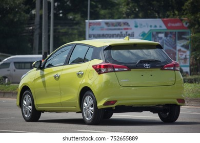 CHIANG MAI, THAILAND -OCTOBER 27 2017: New Private Car toyota Yaris Hatchback Eco Car.  Photo at road no 121 about 8 km from downtown Chiangmai thailand.
