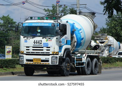 CHIANG MAI, THAILAND - OCTOBER  28  2016: Concrete truck of CPAC Concrete product company. Photo at road no.121 about 8 km from downtown Chiangmai, thailand.