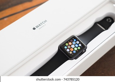 Chiang Mai , Thailand - October 28 2017, Smart watch ,  Apple Watch Series 3 (GPS)Space Gray Aluminum Case with Black Sport Band