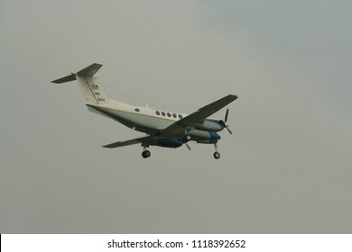 CHIANG MAI, THAILAND - OCTOBER 29 2008: 31214 Beech King C-12C Huron (A200)  of USA  Air Force. Landing to Chiangmai Airport.