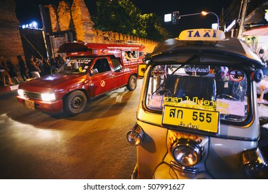 CHIANG MAI THAILAND - OCTOBER 30, 2016 : Sunday market walking street, Unidentified tourists used to travel by taxi to the uniqueness of the city, this market held every sunday.