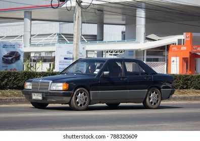CHIANG MAI, THAILAND -OCTOBER 6 2017: Private old car of Mercedes Benz 190E. Photo at road no.1001 about 8 km from downtown Chiangmai thailand.
