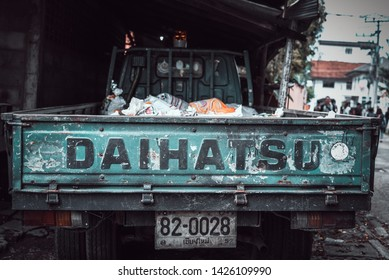 "CHIANG MAI, THAILAND - October 7 , 2018: Old ""DAIHATSU"" brand car pickup goods, parked on the roadside at Suan Buak Haad Park on October 7, 2018 in Chiang Mai, Thailand."