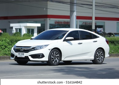 CHIANG MAI, THAILAND - OCTOBER 9  2016:  Private car, New Honda Civic. On road no.1001, North of city about 8 km from Chiangmai Center.