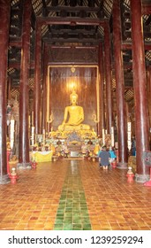 At Chiang Mai - Thailand -  On august 2018 -  Interior of Wat Pan Tao,  beautiful old wooden teak temple