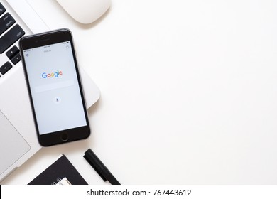 CHIANG MAI, THAILAND - Sep 23, 2017: Google search application on Apple iPhone. Google search application is the search engine service provide by Google.