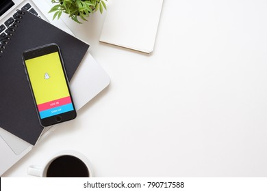 CHIANG MAI, THAILAND - Sep 23, 2017: Apple iPhone with Snapchat application on the screen. Snapchat is a mobile messaging application for sharing photos, videos, text, and drawings.