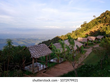 Chiang Mai, Thailand - September 14, 2013: Dining with a view at Moncham mountaintop resort