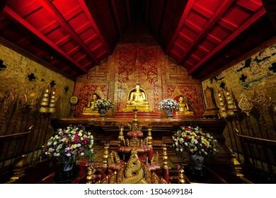 Chiang Mai, Thailand -September 14, 2019 : Phra Phuttha Sihing or Phra Singh the Principle and ancient Buddha Image at Wat Phra Singh Woramahaviharn, Chiang Mai, Thailand